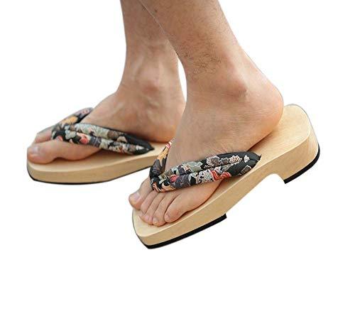 Japanische Holzschuhe für Herren Sandalen Japan Traditionelle Flip Flops Schwarz Kirin Muster Rutschfeste Geta