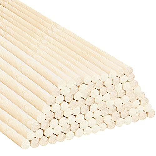 Belle Vous Palos de Madera para Manualidades de Bambú Natural Redondo (Pack de 100) Set Palo de Madera 30 cm – Extra Largo Sin Acabado de 7 mm – Manualidades, Decoraciones, Bricolaje