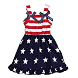 CM-Kid Toddler Kids Baby Girls 4th of July Outfit American Flag Dress Stars Striped Independence Day Sundress 3t 4T