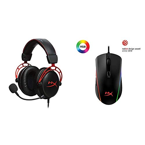 HyperX Cloud-Pro-Gaming-Headset HX-HSCA-RD / EM, rot + Kingston Pulsefire Surge RGB Gaming Maus