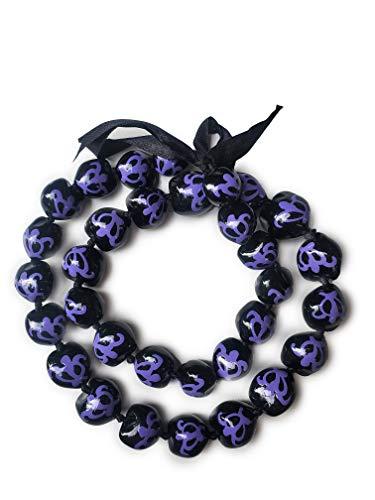 """32"""" Hawaii Wedding Kukui Nut Lei Graduation Luau Hula Necklace Hawaiian Turtles (Lite Purple Turtle)"""