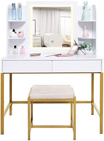 usikey Vanity Table Set with Lighted Mirror Makeup Table with 4 Storage Shelves 2 Drawers Dressing product image