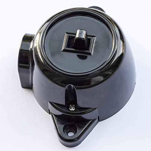 Schalter Aufputz Ein-Aus Schaltereinsatz, 10A/250V, IP20 Schwarz RETRO Bakelit-OPTIK ALT Schema 1