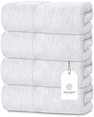 Luxury Bath Towels for Bathroom-Hotel-Spa-Kitchen-Set - Circlet Egyptian Cotton - Highly Absorbent Hotel Quality Towels - Bulk Set of 4-27x54 Inch (White, 4)