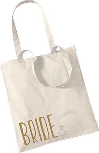 Bride & Ring in Metallic Gold - 100% Cotton Tote Bag Wedding Gift Planning...