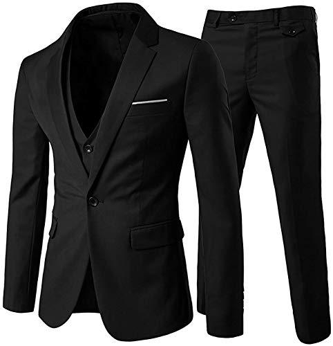 NTNY3 Herrenanzug 3 Teilig Business Slim Fit Anzüge Herren Modern Sakko Hochzeit Anzughose Hose Blazer (Schwarz, L)