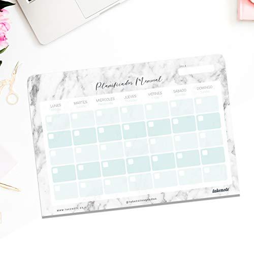 Planificador Mensual Perpetuo Marble - 32 x 23 cm - Takenote Agendas (gris)