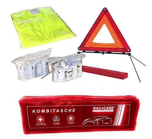 PKW KFZ Verbandkasten Verbandtasche Warndreieck Warnweste Erste Hilfe Kombitasche rot, Erste Hilfe nach DIN 13164 + Warndreieck ECE + Warnweste EN