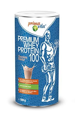 Primavita - Premium Whey Protein 100, integratore proteico con 93% proteine del siero del latte, basso contenuto di zuccheri e grassi, gusto cioccolato, 500 g, 20 porzioni
