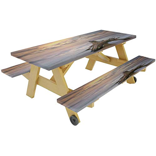 72' Polyester Picnic Table and Bench Fitted Tablecloth Cover,Sunrise on the Water Driftwood on the Sy Beach Digital Image Elastic Edge Fitted Tablecloth for Picnics Parties Outdoor,Tan and Yellow