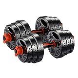 Mancuernas Equipo De Fitness Profesionales Juego Barra Variable Desmontable Ergonomía Unisexo (Color : Black, Size : 24KG(12KG*2))