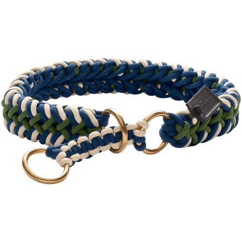 TINNUM Dressurhalsung für Hunde, Zugstopp, handgeflochten, maritim, M-L, grün/blau