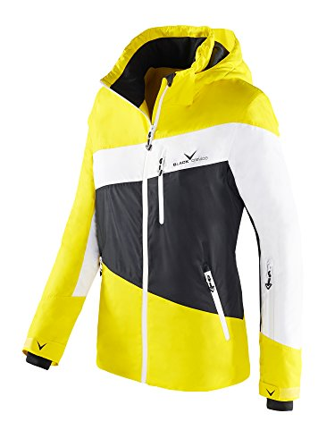 Black Crevice Damen Skijacke, Funktionsjacke, Color Blocking, gelb/weiß/schwarz, 42