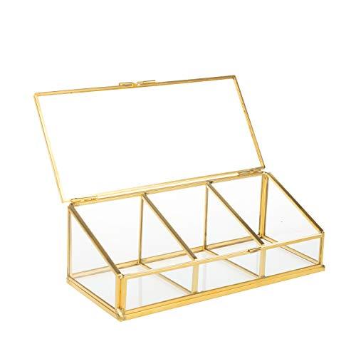 Feyarl Schmuckschatulle mit Klappdeckel, Glas Terrarium Box für Ringe und Ohrringe (Gold)