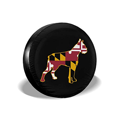 Enoqunt Boxershorts Dog Silhouet met Maryland Flag Spare Tire Wheel Cover geschikt voor Jeap RV SUV en vele voertuigen