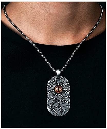 NC110 Devil'S Eyes Man Colgante Collar Plata 925 / Cadena de Acero de Titanio Joyas Regalos para Novio Hijo-Titanio Steel_55 cm YUAHJIGE