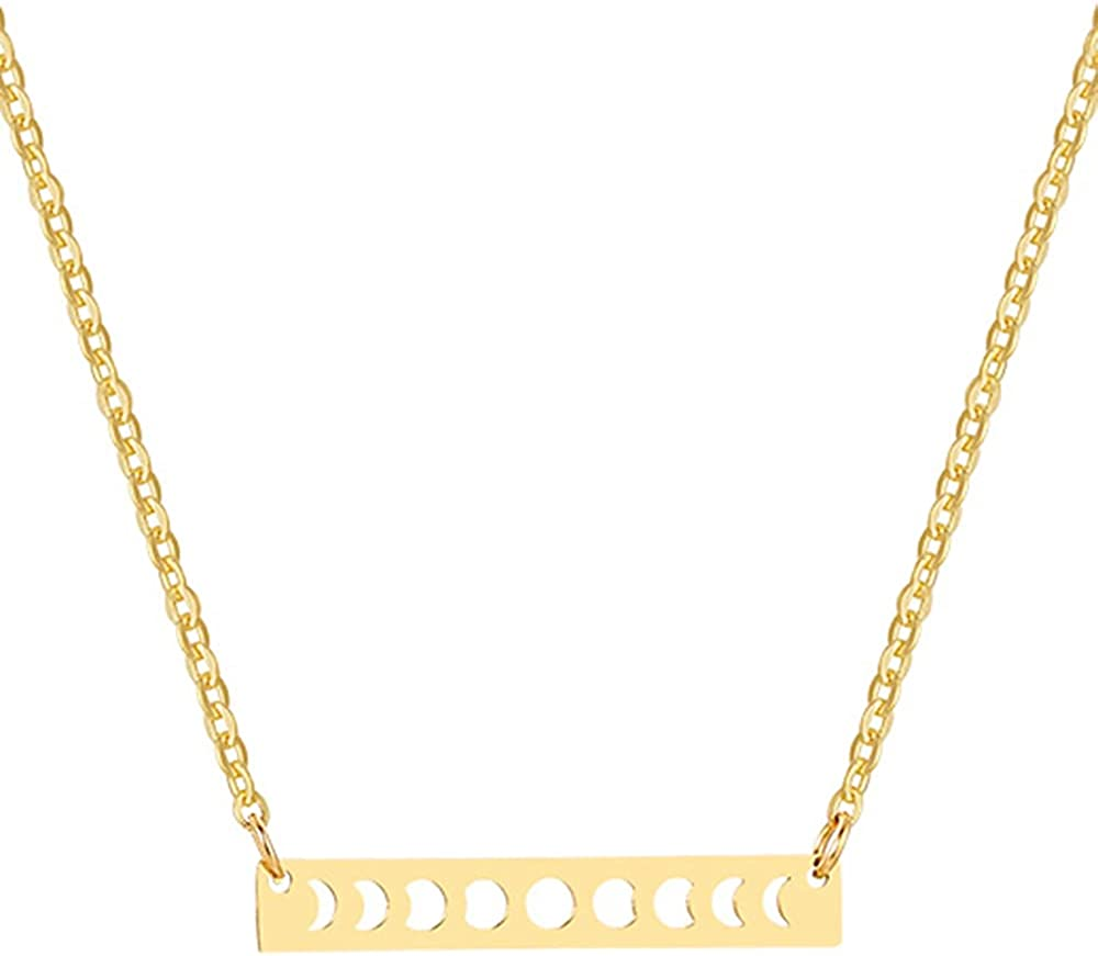 Stainless Steel Horizontal Bar Moon Phase Crescent Statement Cocktail Party Collar Necklace