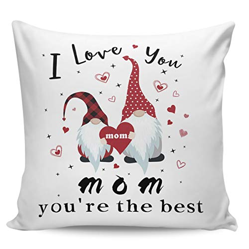 Square Throw Pillow Cover with Zipper for Girl/Boy/Kid/Couple/Couch/Chair/Bed/Dining/Living Room, Happy Mother's Day Best MAMA Ever Gnomes Decorative Soft Short Plush Cushion Cover Pillow Case 20x20in