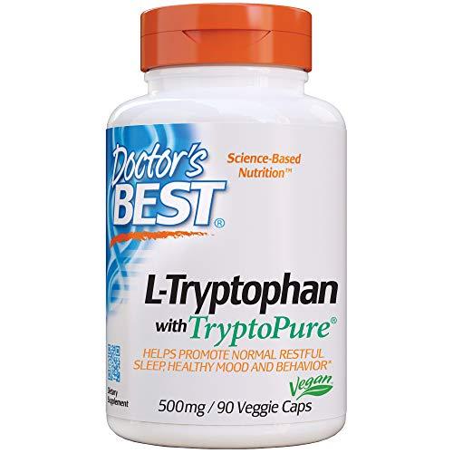 Doctor's Best L-Tryptophan from Tryptopure, Helps Sleep, Healthy Mood & Behavior, Non-GMO, Vegan, Gluten Free, Soy Free, 90 Veggie Caps