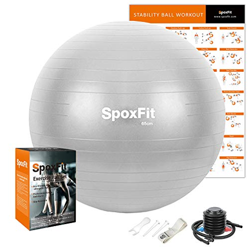 SpoxFit Exercise Ball, 65cm Anti-Burst Yoga Ball, Stability Fitness Ball for Birthing & Core Strength Training, Includes Quick Pump & Workout...
