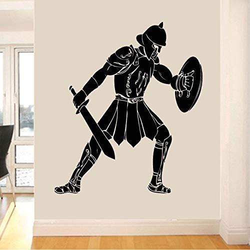 Zdklfm69 Adhesivos Pared Pegatinas de Pared Arte de Silueta de Gladiador Gladiador Griego Antiguo Mural de Transferencia de Vinilo para la decoración de la habitación del hogar 49x42cm