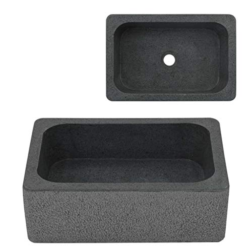 Festnight Naturstein Waschbecken Aufsatzwaschbecken Handwaschbecken Waschschale Waschtisch Rechteckig Eckig 45 x 30 x 15 cm Flussstein Schwarz