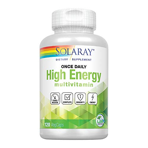 Solaray High Energy Multivitamin | Once Daily  Timed-Release Formula | Whole Food & Herb Base | Non-GMO | 120 VegCaps