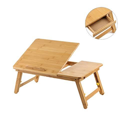 Laptopbureau, inklapbaar, van bamboe, in hoogte verstelbaar, nachtkastje om te lezen of te ontbijten, tekentafel met lade, eettafel (hoogte: 55 cm, 55cm