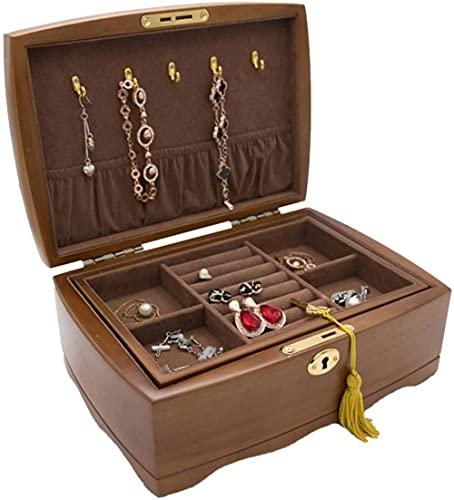 Joyero de madera con cerradura y llave Joyero de 2 capas para mujeres o niñas (collar, pendientes, pulseras, anillos)