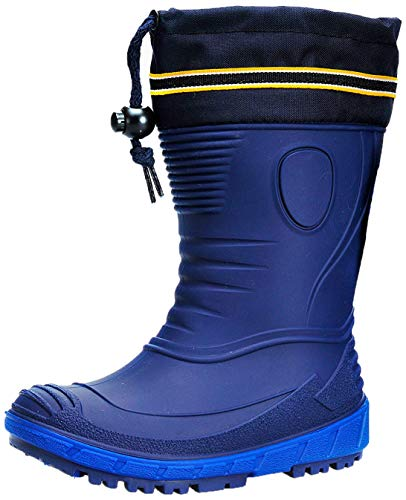 AQUAZON Classic Botas de Goma para niños, Botas de Agua, Botas de Lluvia, Forradas con un 80% de Lana de Oveja auténtica, Impermeables, para niños y niñas, Invierno, Size:35, Color:Azul con Lana