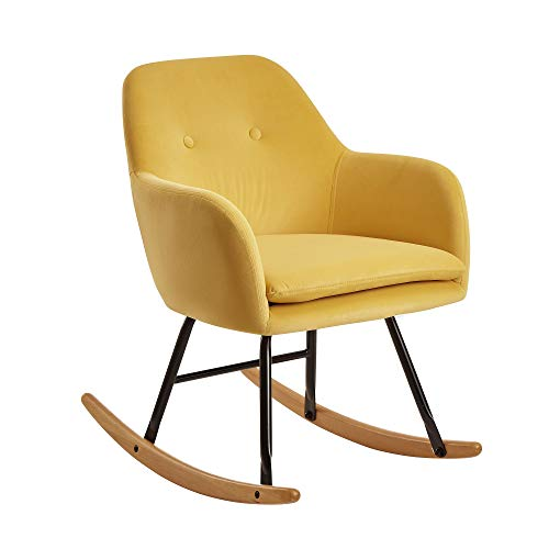 FineBuy Schaukelstuhl Gelb 71x76x70cm Design Relaxsessel Samt/Holz | Schwingsessel mit Gestell | Polster Relaxstuhl Schaukelsessel | Moderner Schwingstuhl Sessel
