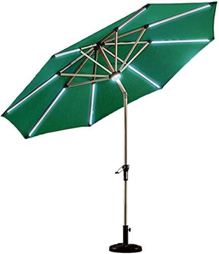 XBR 2021 New Sun Parasol Umbrella Garden 2.7m (9ft) Sombrilla de Patio con luz Solar con manivela de Aluminio Inclinado/Base de sombrilla de Sunshine to Starlight para Pesca/jardín/cafetería (Sin ba
