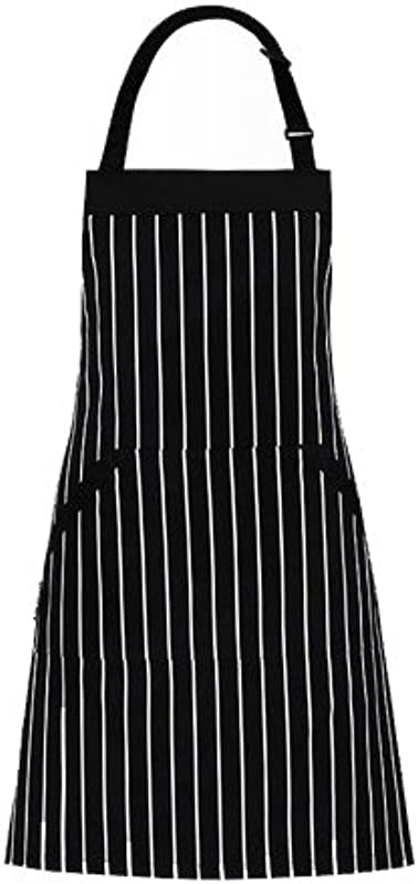 Adjustable Bib Apron With Pockets Extra Long Ties Commercial Grade Unisex Black White Pinstripe 33 X 27 Inches Homwe