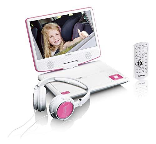 Lenco tragbarer DVD-Player DVP-910 9 Zoll (22,5 cm) mit drehbarem Display und Integriertem Akku (USB, AV-Ausgang), Netzadapter, Kopfhörer, Pink