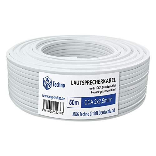 M&G Techno 50m Lautsprecherkabel (Single-Wire) 2 x 2,5mm² CCA (Kupfer+Alu) rechteckig Weiß, mit Metermarkierung, 3317