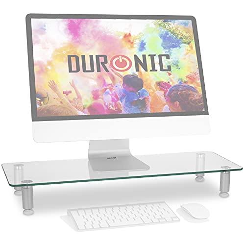 Duronic DM052-3 Bildschirmständer/Monitorständer/Notebookständer/TV Ständer/Bildschirmerhöhung/Laptop | Glas | transparent |70cm x 24cm | 20kg Kapazität