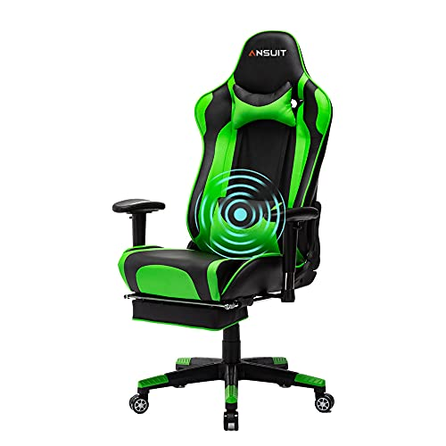 Gaming Chair with Footrest Computer Chair Racing Chair High Back Ergonomic Adjustable Executive Swivel PC Chair with Headrest and Massage Lumbar Support (Green)