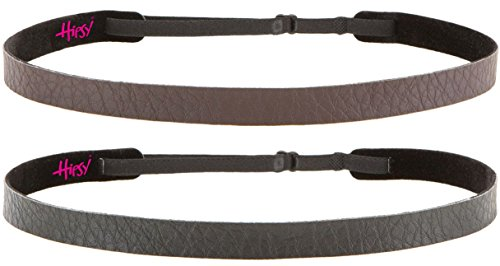 Hipsy Women's Adjustable Non Slip Skinny Faux Leather Headbands Multi 2pk (Skinny Brown & Black Faux Leather 2pk)