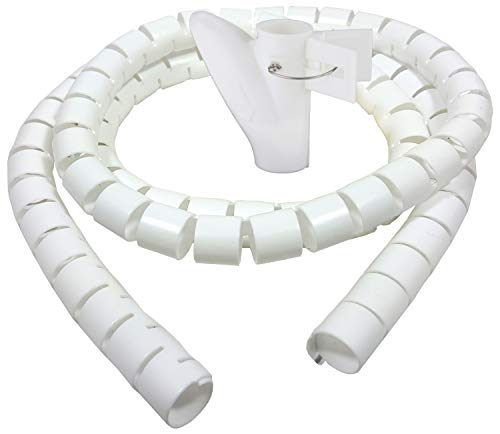 Bambelaa! Kabelschlauch 1,5m Kabelkanal kürzbar Kunststoff flexible Kabelorganisation 20mm Durchmesser (Weiß, 1,5m x 20mm)