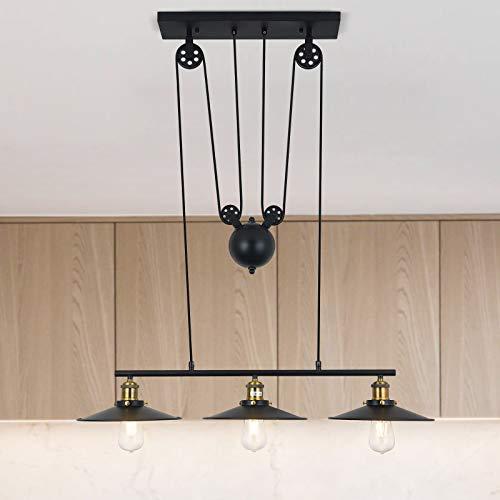 Lámpara colgante de techo con polea de 3 luces, lámpara colgante retro industrial vintage, pantalla de lámpara negra, accesorio de luz de metal para cocina, isla, bar, pasillo, comedor, sala de estar