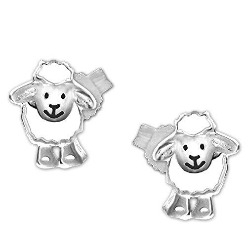 Clever Schmuck Silberne Damen Kinder Ohrstecker 9 mm Schaf lustig lachendes Gesicht weiß und schwarz lackiert glänzend STERLING SILBER 925