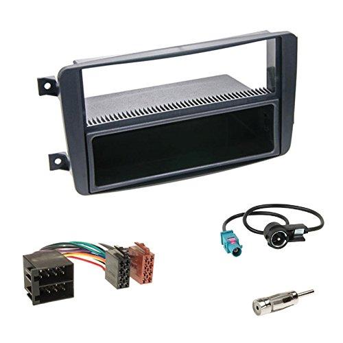 Einbauset: Autoradio DIN 1-DIN Blende Radioblende schwarz + Fach + Radio Adapter Adapterkabel + Antennenadapter für Mercedes CLK-Klasse (W209) Vito (W639) Viano (W639) C-Klasse (W203) 03/00-03/04