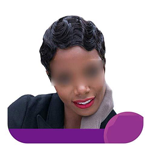 PJPPJH Perruques pour Femmes Cheveux Humains Rose Perruque de Cheveux Humains, Perruque de Vague de Doigt 100% Cheveux Humains Coupe Courte Bob
