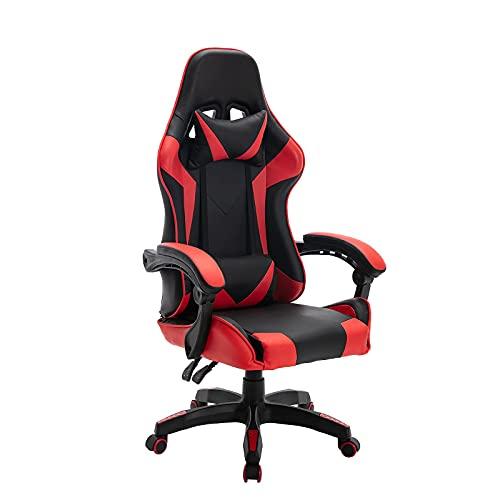 GrandCA HOME Silla Gaming Escritorio Oficina Silla Ajustable Racing Sillón Gamer Apoyabrazos Respaldo Alto PVC Cuero-Rojo stuhl