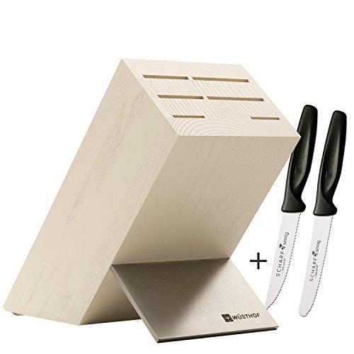 Wüsthof Messerblock Esche creme leer für 6 Teile 7266 + je 1 SCHARFsinnig Messer B & S