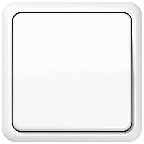 Komplett-Set Jung CD 500 Rahmen, 1-fach, bruchsicher - Alpinweiß, glänzend mit Wippe + Wippschalter, Universal Aus-Wechsel -JUNG- -weiß-