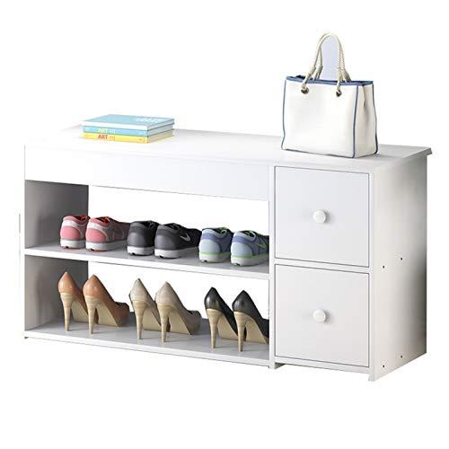 WHOJA Zapatero con Asiento Banco de Zapatos de Almacenamiento Estante de 2 Plantas y 2 cajones. Mueble de baño Marco de Madera Maciza 80x30x42cm Estantería (Color : White)