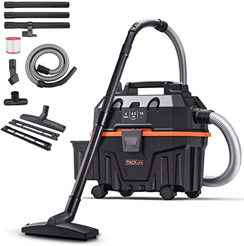 TACKLIFE Shop Vacuum 4 Gallon 1200W 4.5 Peak Hp Bagless Wet Dry Vacuum, Wet Suction/Dry Suction/Blowing 3 in 1 Function, Suitable for Indoor and Outdoor Use, PVC01B
