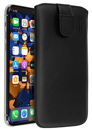 mumbi Funda de cuero real compatible con iPhone 11 Pro Estuche Bolso de cuero Estuche Monedero, Negro
