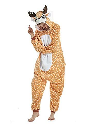 Cerf Pyjama Adulte Combinaison Animaux Vêtement de Nuit Halloween Cosplay Costume Noel Party Soirée de Déguisement,Cerf,Taille L pour 168-178cm de hauteur,Taille L pour 168-178cm de hauteur,Cerf